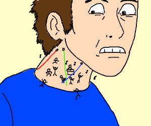 stickmen raving in someone's neck