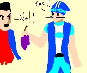 Sportacus force-feeding Robbie grapes