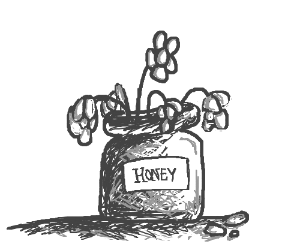 pot of honey but its flowers