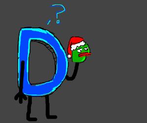 Drawception has a Christmas Pepe sock puppet
