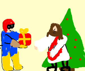 Captain Falcon brings Jesus a birthday present
