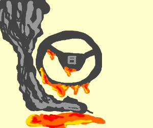A steering wheel turning into lava