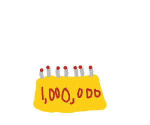 1,000,000 year birthday cake (candle bonfire!)