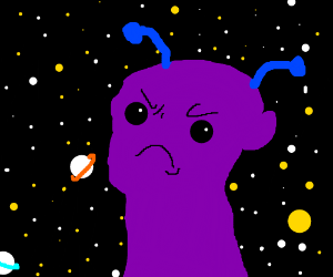 Mad purple alien with light blue antennas