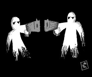 2 people holding guns