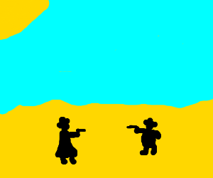 2 guys in a Mexican standoff (is that racist?)