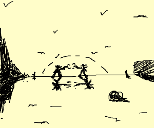 Cowboys in a gunfight in the desert.