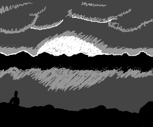 sunset drawn with just black