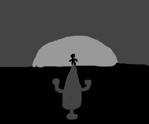Shadowy figure watches monochrome sunset