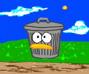 Trash can with spongebob fish style face