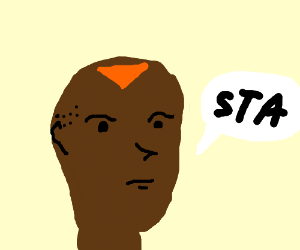 Concerned man with a Dorito on his head is sta