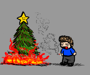 Child delinquent sets fire to a Christmas Tree