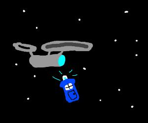 enterprise flying by tardis in space