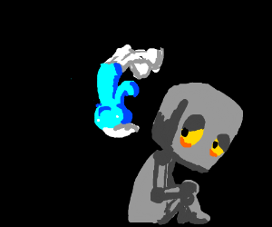 Smurf flips off sad robot