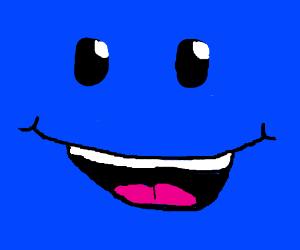 big blue square smiley face - Drawception