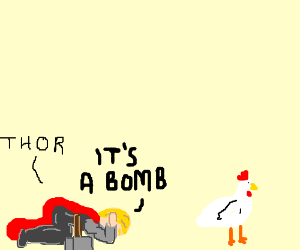 blondie thinking that a chickenwing is a bomb
