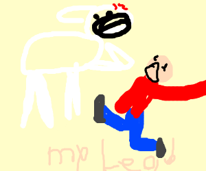angry cow/dog sees a boy with a broken leg