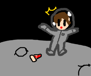 Suprised man on moon finds piece of pizza