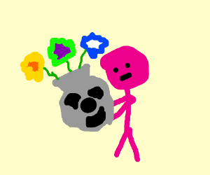 pink man carries vase with toxic symbol on it