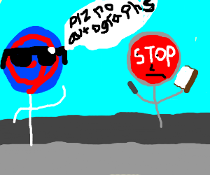 """a cool lolipop and a stop sign """"plz"""""""