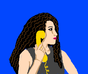 Woman with yellow phone