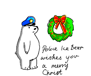 Polar Bear Policeman and Christmas wreath