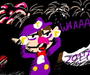 Waluigi celebrates new year