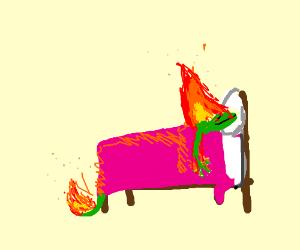 a lizard burns in its sleep