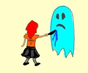 Mary D stabs a ghost who doesn't know anything
