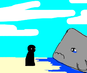 man looking at sad whale