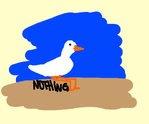 The duck sits down on nothing