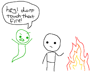 Ghost warns you not to touch fire