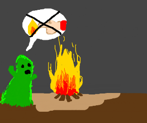 Green ghost advises you not to touch fire