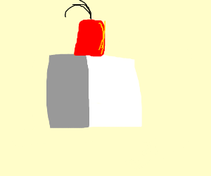 a white box wearing a fez