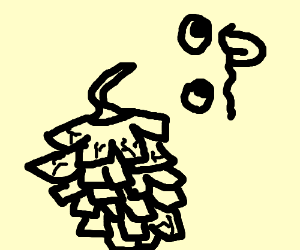 """A deformed pinecone and a """":P"""" face"""