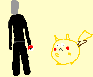 Slenderman holds a deformed pokemon