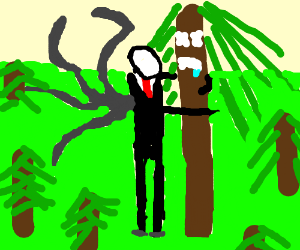 slender man hugging a sad little dead tree