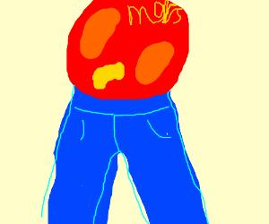 Mars is wearing jeans.