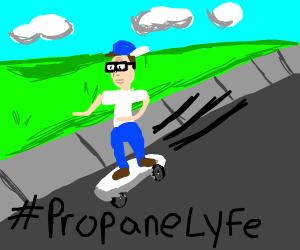 Gnarly Hank Hill riding his propane skateboard