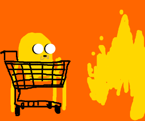 jake the dog rides a shopping cart to fire