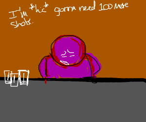purple guy with no arms needs 100 more shots