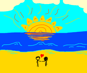 couple on the beach looking at sunset