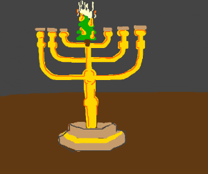 menorah but center candle is fiery cmas tree