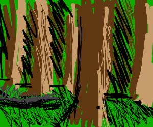 Dead centipede-lizard in the forest