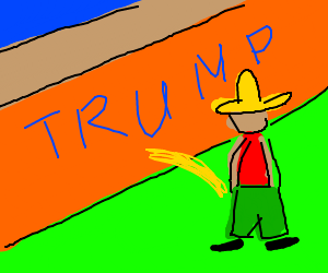 Mexican takes a piss at trump's wall