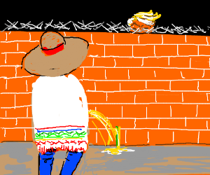 mexican peeing on trump wall