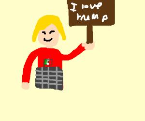 A trump supporter girl
