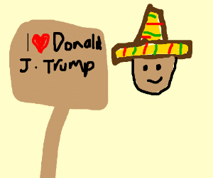 A blonde Mexican holding a I love trump sign