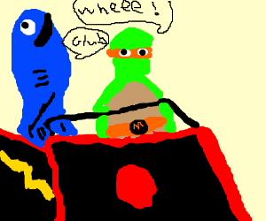 Fish man and Michaelangelo on a rollercoaster