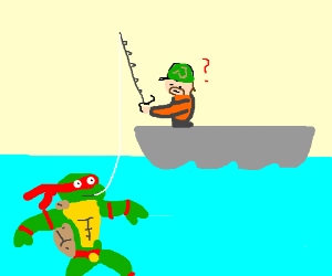 Catching a ninja turtle with a fishing pole